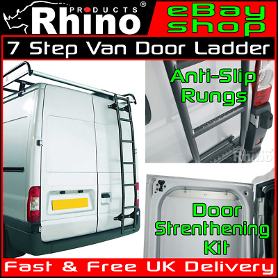 MEDIUM ROOF Ford Transit Rear Door Ladder 7 Step Anti Slip Rack Rhino 2000-2014