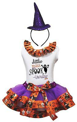 Little Miss Spook Tacular White Top Pumpkin Ghost Trim Skirt Girl Outfit NB-8Y
