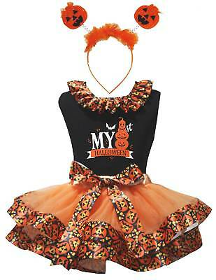 My 1st Halloween Black Top Orange Pumpkin Trim Skirt Girl Outfit Set NB-8Y