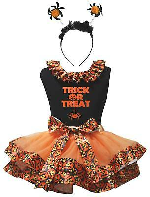 Trick Or Treat Black Cotton Top Orange Pumpkin Trim Skirt Girl Outfit Set NB-8Y