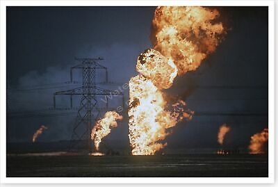 Kuwait Oil Well Fire In Aftermath Of Operation Desert Storm 8 x 12 Photo