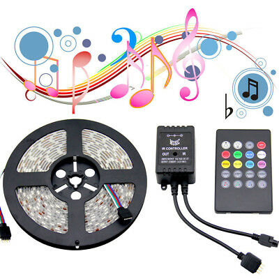 5M LED Stripe RGB SMD 5050 300 LEDs Streifen Band Leiste Music Controller