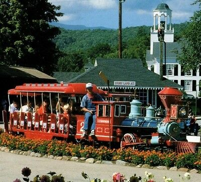Huff-Puff & Whistle railroad amusement park Story Land Glen NH Vintage Postcard