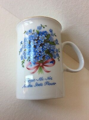 Coffee cup Forget Me Not Alaska State Flower gold rim Mug Cup