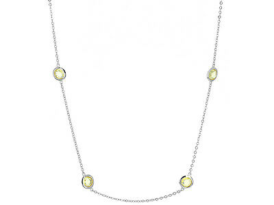 Canari Diamant Simulant Chaton Station By The Yard 18K Collier en Argent Fin