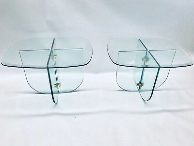 Leon Rosen Brass Glass PACE Collection Modern Pair Of Side Tables HEAVY