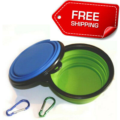 Collapsible Dog Bowl Small Feeder Travel Food Water Dish Pet Silicone BPA Free