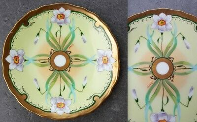 Arts & Crafts Mission Hand Painted Plate GD & CIE Avenir Limoges Signed Barny 6""
