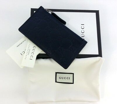 dc85b2faf00 Authentic Gucci Signature Guccissima Blue Leather Card Case Card Holder