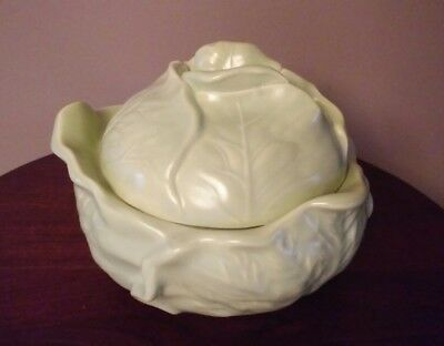 Holland Mold Cabbage Bowl with Lid Ceramic Dish Green Vintage