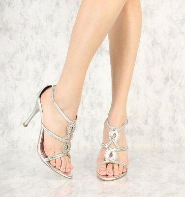 Silver Rhinestone Open Toe Strappy High Heels Stiletto Sandals Faux Leather