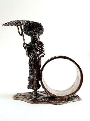 Figural Silver Napkin Ring Holder Place Setting Young Girl Umbrella Parasol