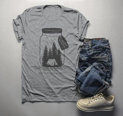d5538cf8f Men's Camping T Shirt Mason Jar Graphic Tee Collect Moments Hipster Shirts  Tent