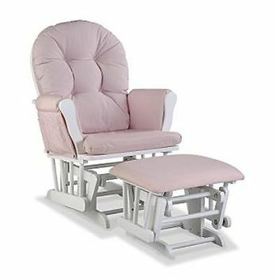 Baby Rocker Glider Nursery Rocking Chair And Nursing Ottoman Stool Pink White