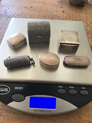6 Silver Boxes Sterling Silver 85 Grams Small Lot Pill 100 Pocket