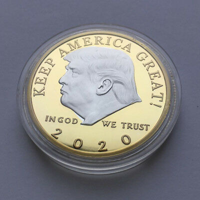 US President Donald Trump 2020 KEEP AMERICA GREAT 2 Tone Silver&Gold Coin Badge