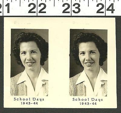 Vintage Old B&w 1943 1944 School Photo Of Pretty Young Girl #3130