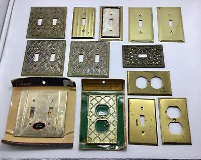 Lot of 13 Vintage Antique Cast Metal Light Switch Plates~~Textured Ornate