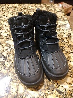 Nike Kids Girls Size 7Y Woodside Chukka 2 PS Boots Black Fur 859425-002 NEW