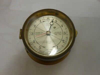 VINTAGE TIDE CLOCK Salem Clock Co- Swiss Movement- Brass - Needs Cleaning as is