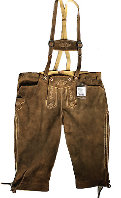 Winklbauer Lois Goat Suede Leather Costumeleather Pants Knee Breeches Long Brown