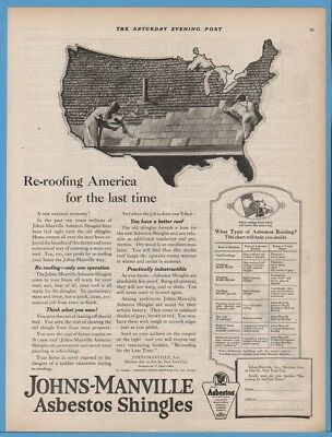1922 Johns Manville Asbestos Shingles Roofing America For The Last Time Ad