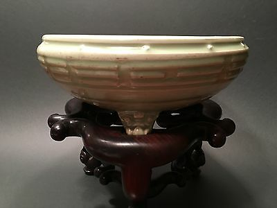 "Antique Chinese Celadon Longquan Censer, 12 1/2"" diameter, Yuan/Ming period"