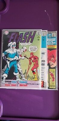 3 silver age Flash comics 166 (Captain Cold Heat Wave) 167 169 (2x size issue)