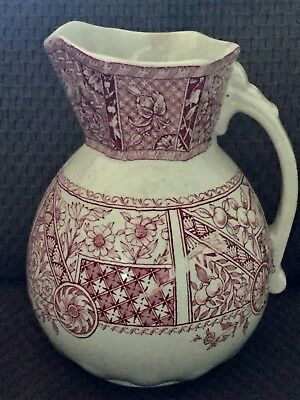 D B & Co BEEHIVE Mark Red Transferware Aesthetic Movement Pitcher - 132 yrs Old!
