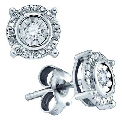 Sterling Silver Womens Round Diamond Solitaire Screwback Stud Earrings 1/20 Cttw