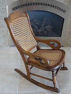 Antique1890 Victorian Child's Hard Wood ROCKING CHAIR Caned Seat Lincoln Rocker