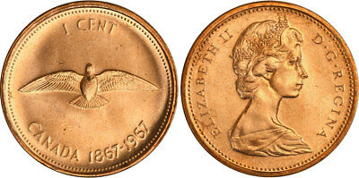 1967 Canadian 1 Cent Centennial Penny - Uncirculated in Mint Cello, SHIPS FREE!