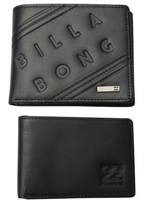 "Leather Wallet Billabong New Mens Men Boys ""brooklyn"" Two In One Trifold Black"