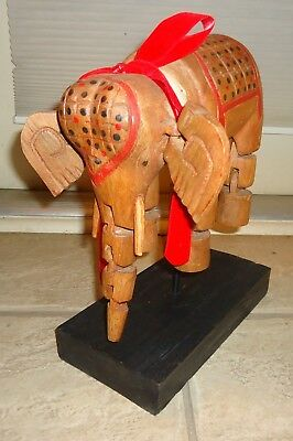 Vintage Handcarved Handpainted Wooden Elephant with Articulated Joints