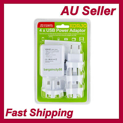 Universal Travel Adapter Dual 4 USB Wall AC Power to AU EU US UK International