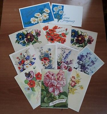 Lot of 12 pcs Rare Flowers Soviet Greeting vintage art Postcard 60's posted