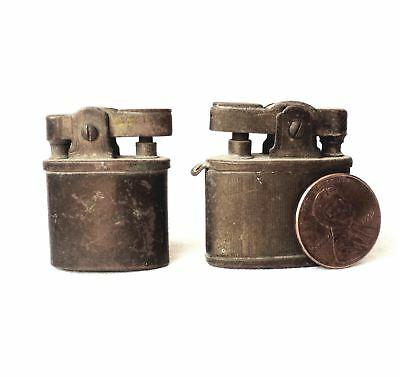 1930 - 1940's Japan Japanese  Lot of 2 Mini Old Brass Lighters - Collectibles