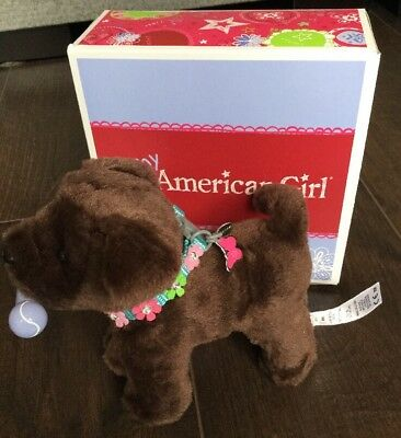 American Girl Doll - Chocolate Lab Puppy With Collar And Magnetic Bone