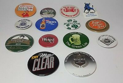 Vintage Beer Pin Back Button Advertising Lot of 14 different Badges