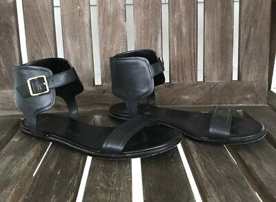 12d3558ee412 6.5M Cole Haan Barra Sandal Black Leather Women Ankle Strap Open Toe Flat  Shoes