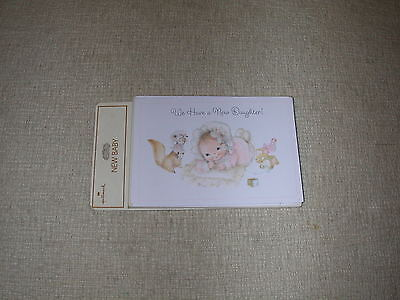 Vintage Hallmark Mary Hamilton Cute Baby Girl Birth Announcements & Envelopes