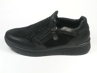 best service fdf29 be244 SCARPE ENVAL SOFT Donna Doppia Zip Pelle Nero 2284500 Made In Italy Shoes