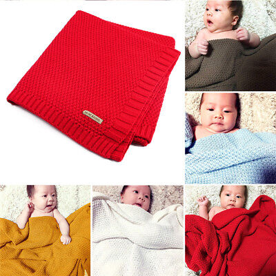 7 Colors 100% Organic Cotton Knitted Baby Blanket for Boys Girls Kids MN