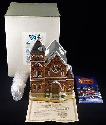 Lefton Colonial Village Lighted Main Street Church, New In Box, Old Stock, Mint