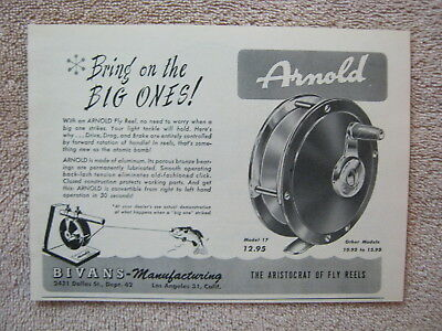 Vintage 1947 Arnold Model 17 Fly Fishing Reels Print Ad