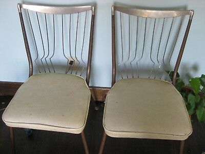 2 Mid Century Modern Wire Back Dining Chairs Rare Eames Atomic
