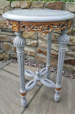 Vintage Tall Round Table Grey and Antique Gold Finish Very Ornate Carved Wood