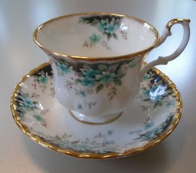 Royal Albert Bone China Tea Cup & Saucer Teal Gold Trim Badminton Series