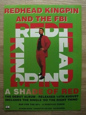 REDHEAD KINGPIN and the FBI - A Shade of Red - 1989 - MAGAZINE ADVERT 30 X 22 cm