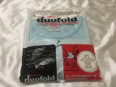 Vintage Duofold 2 Layer Sports Underwear L/S Shirt Light Blue - Women's 14- New!